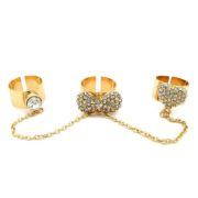 3 Gold Rhinestone Linked Chain Rings-0