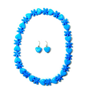 Blue Flower And Hearts Necklace Set-0