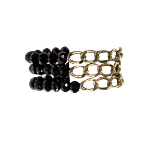 Black Beads With Gold Chain Bracelet-0