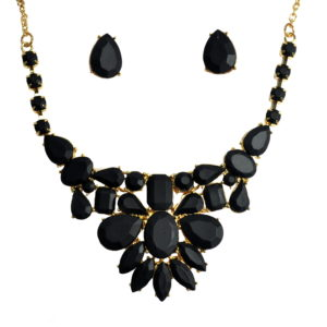Black Matte Gems Necklace Set-0