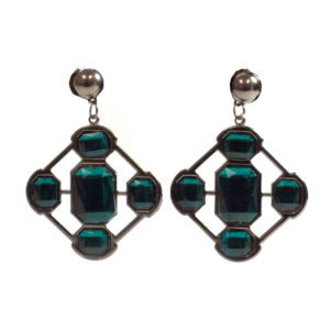 Black And Emerald Green Earrings-0