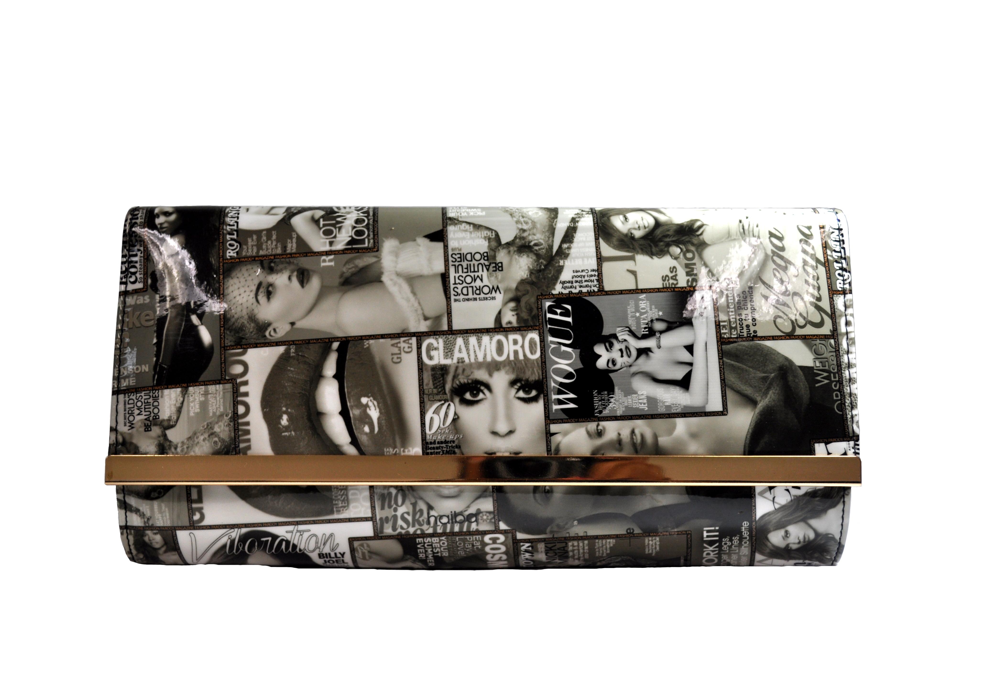Black And Grey Magazine Print Clutch-0