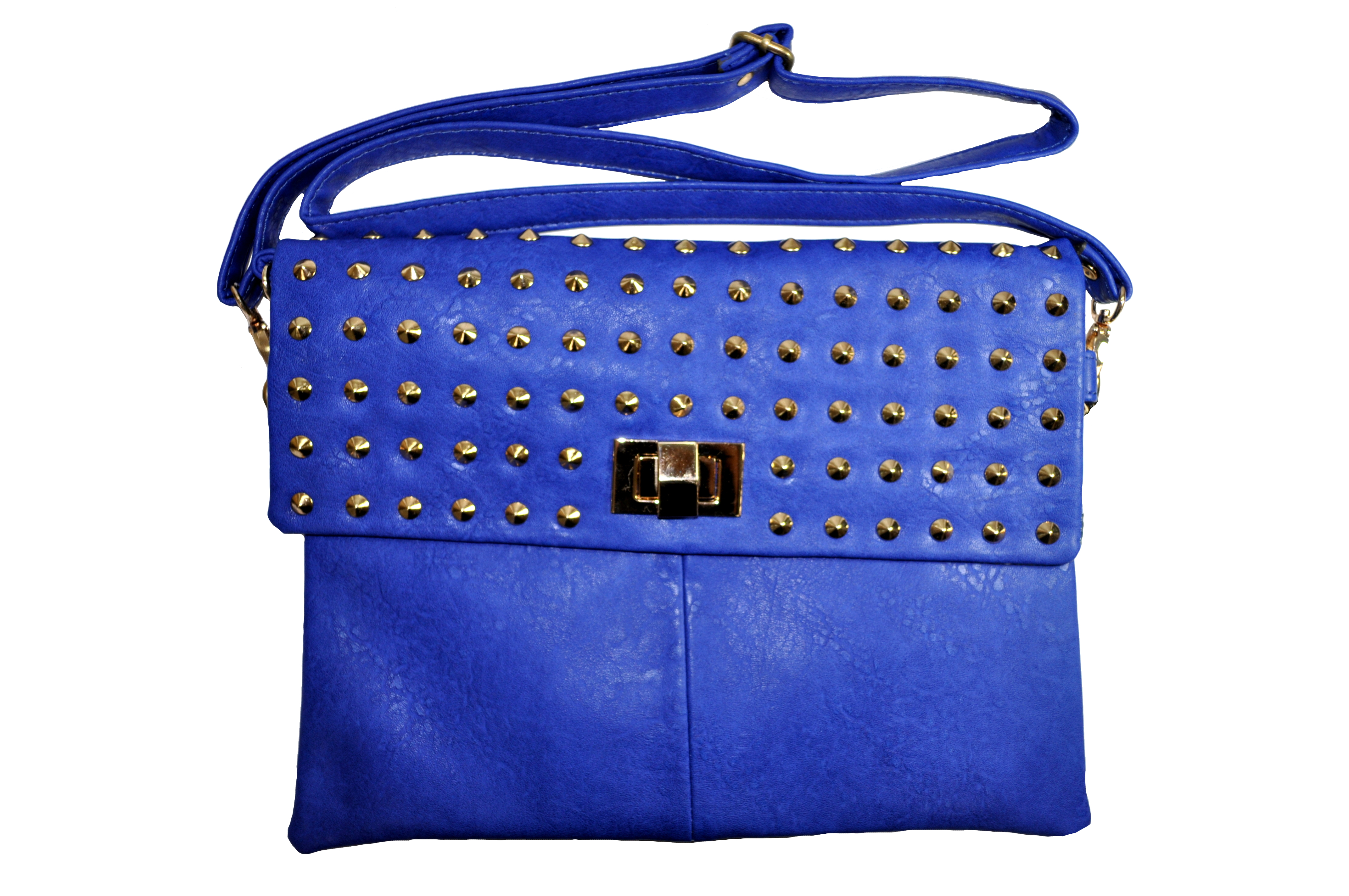 Blue With Gold Studs Hand Bag-0