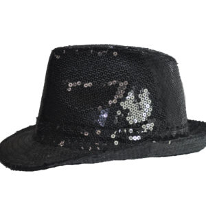 Black Sequin Fedora Hat -0