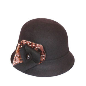 Dark Brown With Cheetah Print And A Gem Hat-0