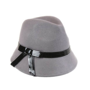 Light Grey With Black Ribbon Hat-0
